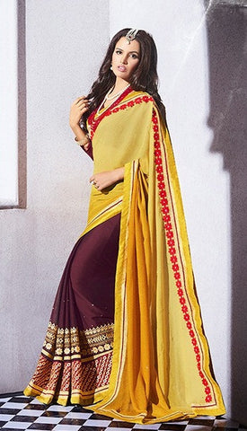 Yellow,Georgette,Jacquard,Party wear designer heavy saree