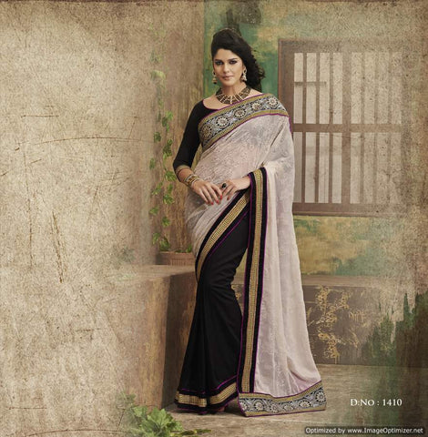 Black Flock Saree with hand work and Embroidery