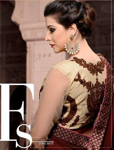Maroon Party wear saree with embroidery on net pallu