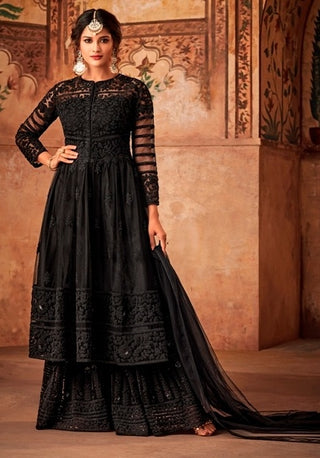 Black Net Sharara Suit With  Dupatta