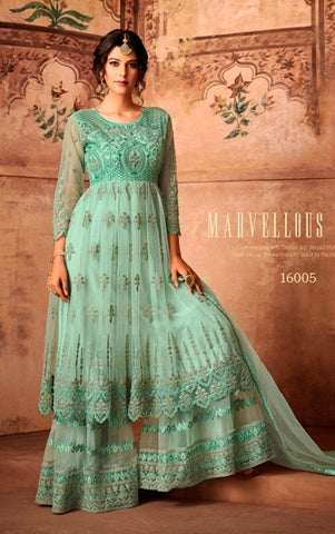 Blue Net Sharara Salwar Suit With  Dupatta