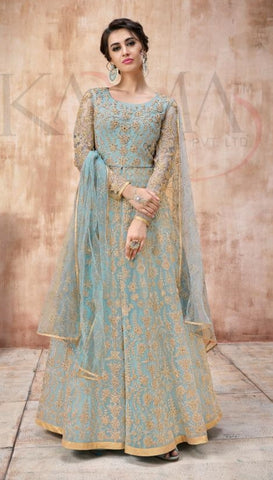 Blue Net Party Wear  Anarkali Suit With Blue Dupatta
