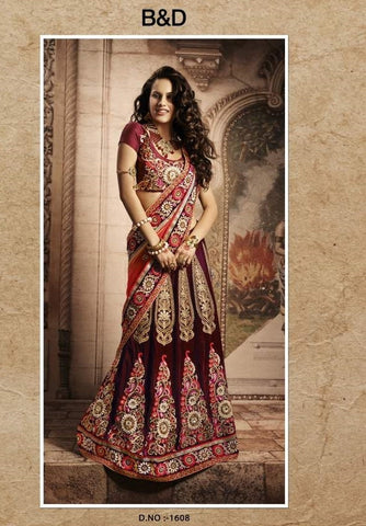 women in designer lehenga saree