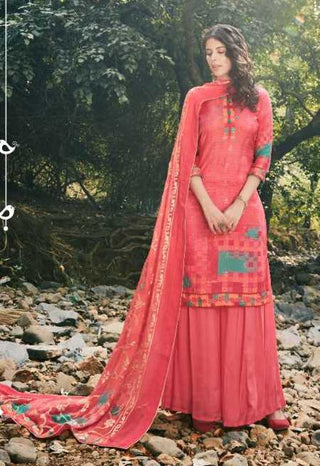 Pink Muslin Silk Party Wear Suit With  Dupatta