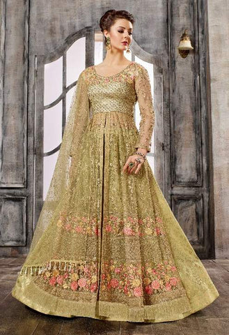 Golden Net Jazi Work Anarkali Suit With Golden Dupatta