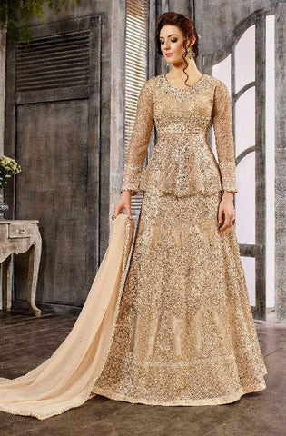 Golden Net Zari Work Anarkali Dress With Golden Dupatta