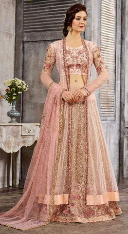 Pink Net Zari Work Anarkali Suit With Pink Dupatta