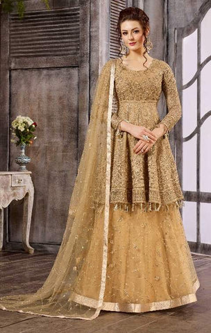 Golden Net Zari Work Anarkali With Golden Dupatta