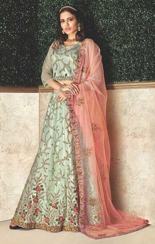 Pastel Blue Dual Tone Taffeta Silk Party Wear Lehenga With Pastel Blue Choli And Peach Dupatta
