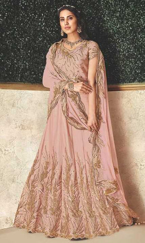 Pink Dual Tone Taffeta Silk Party Wear Lehenga With Pink Choli And Pink Dupatta