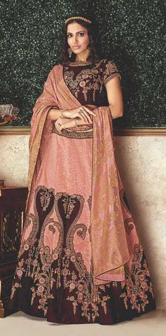 Peach Brocade Party Wear Lehenga With Maroon Choli And Peach Dupatta