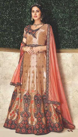 Beige Weaved Silk Party Wear Lehenga With Beige Choli And Peach Dupatta