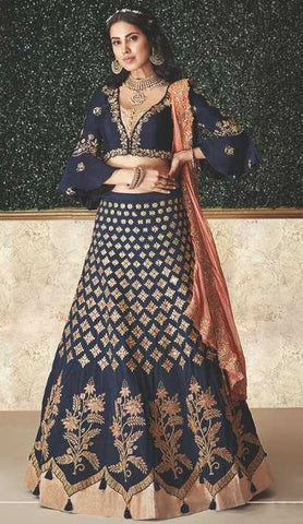 Blue Taffeta Silk Party Wear Lehenga With Blue Choli And Peach Dupatta