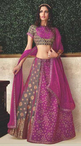 Green Dual Tone Brocade Party Wear Lehenga With  Magenta Choli And Green Dupatta