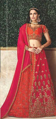 Orange-Pink Jacquard Silk Party Wear Lehenga With Orange-Pink Choli And Orange-Pink Dupatta
