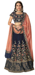 Blue Velvet Party Wear Lehenga With Blue Choli And Peach Dupatta