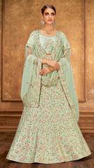 Pastel Green Raw Silk Party Wear Lehenga With Pastel Green Choli And Pastel Green Dupatta