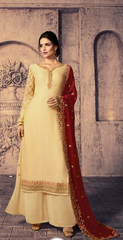 Beige Satin Georgette Party Wear Suit With  Dupatta