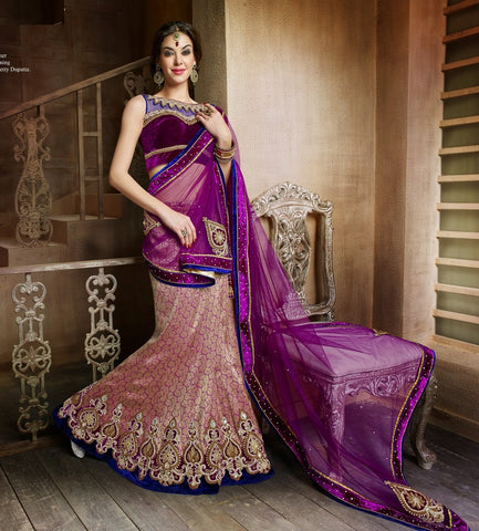 Violet , Golden,Brocade,Heavy designer lehenga with embroidery work