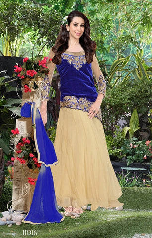 Designer blue and beige anarkali floor length long semi stitched suits with blue dupatta