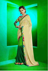 Designer Beige and Green Saree with printed blouse for office