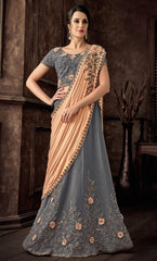 Grey Taffeta Silk Party Wear Lehenga With Peach Dupatta