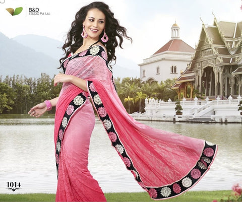 Pink Jacquard Net Saree with embroidery and handwork
