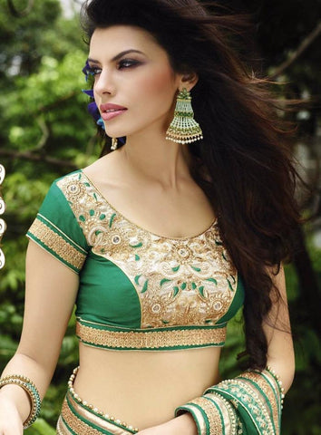 Green and beige designer party wear and bridal saree for special occasions
