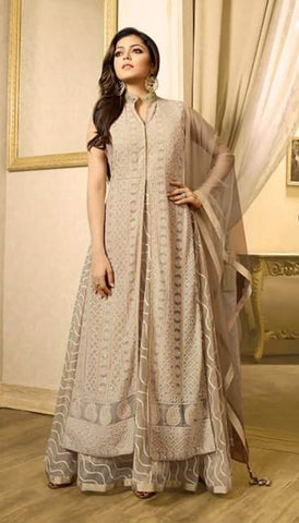 Beige Georgette Embroidered Anarkali Suit Along With Dupatta