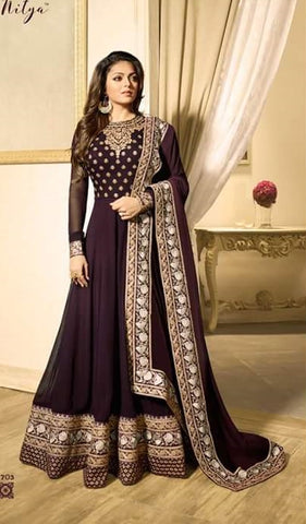Dark Marron Georgette Anarkali Suit With Dupatta