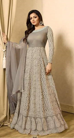Grey Net Abaya Style Anarkali Type Dress With Dupatta
