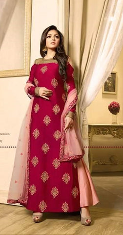 Cold Shoulder Pink Chanderi Long Anarkali Dress With Dupatta