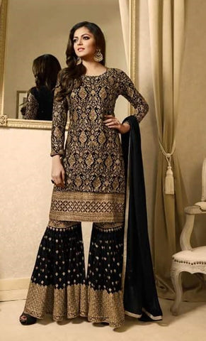 Black Georgette Thread Embroidered Sharara Style Salwar Suit