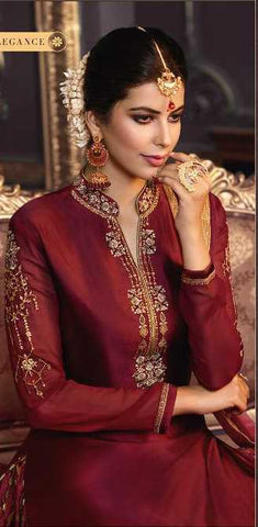 Maroon Georgette Party Wear Suit With  Dupatta