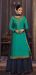 Cyan Georgette Party Wear Suit With  Dupatta