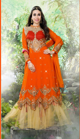 Orange designer embroidered long floor length anarkali semi stitched suits