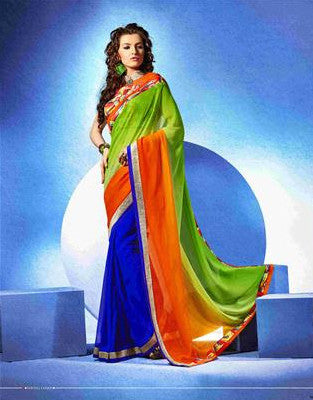 Designer Multicolored Blue base designer saree for office