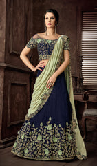 Blue Velvet Party Wear Lehenga With Green Dupatta