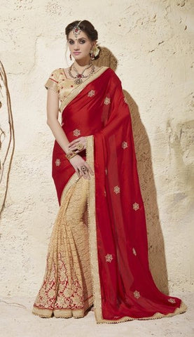 Red , beige ,Jacquard,Designer heavy party wear saree