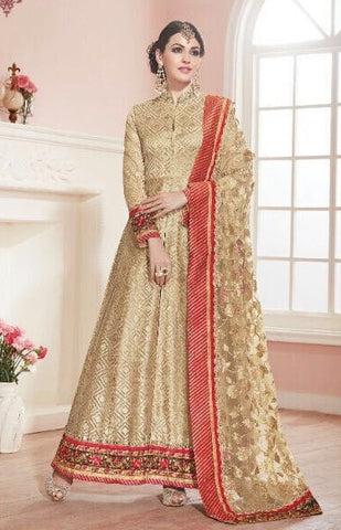 Party Wear Anarkali suits with Beige Dupatta