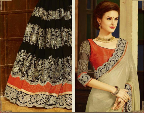 Shop Online Black And Beige Saree with Embroidery Work