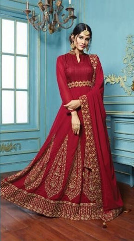 Maroon Gerogette Embroidered Abaya Style Anarkali Suit With Dupatta