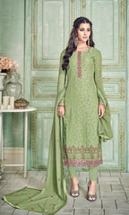Green Georgette Party Wear Suit With  Dupatta
