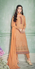 Orange Georgette Party Wear Salwar Suit With  Dupatta