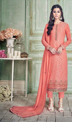 Peach Georgette Party Wear Suit With  Dupatta