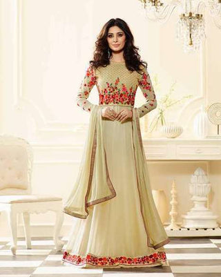 Beige Georgette anarkali Suits With Beige Duoatta