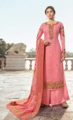 Pink Tussar Satin Silk Party Wear Suit With Dupatta