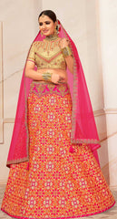Pink Silk Party Wear Lehenga With Beige Choli And Pink Dupatta