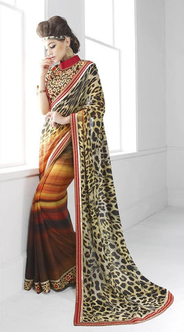 Brown ,Art Silk,Designer party wear saree with designer blouse