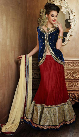 Red , Beige,Net,Heavy designer lehenga with embroidery work